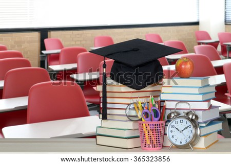 education concept with modern classroom and books - stock photo