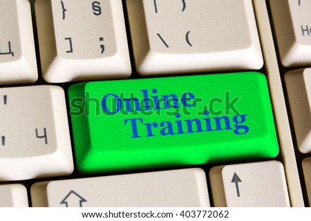 Education concept: Written word Online Training on green  keyboard button. - stock photo