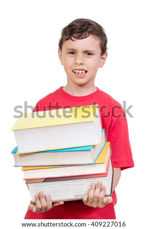Education Concept - Young boy feeling tired from carrying many books - Isolated on the White Background - stock photo