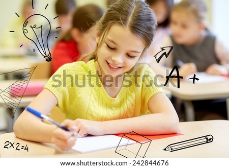 education, elementary school, learning and people concept - group of school kids with notebooks writing test in classroom over doodles - stock photo
