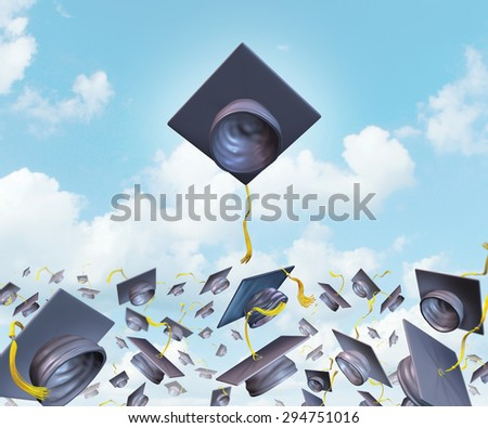 Education excellence and higher learning success with graduation hats thrown in the air as a leading mortar board higher than the competition for university and college students to rise above.   - stock photo