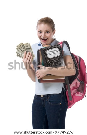 education financial aid Caucasian college student holds pile 100 (one hundred) dollar bills happy getting money help to subsidies costly university cost - stock photo