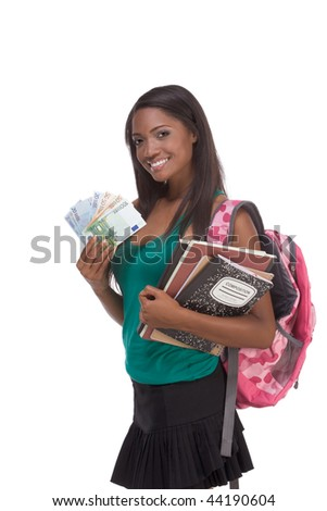 education financial aid Ethnic black African-American college student holds pile 100 (one hundred), 50 (fifty) and 20 (twenty) euro bills banknotes happy for money help to subsidize costly university
