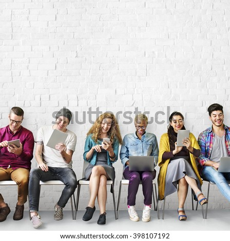 Education Friends Lifestyle Digital Device Group Concept - stock photo