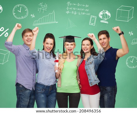 education, friendship, graduation, gesture and people concept - group of smiling students standing over green board - stock photo