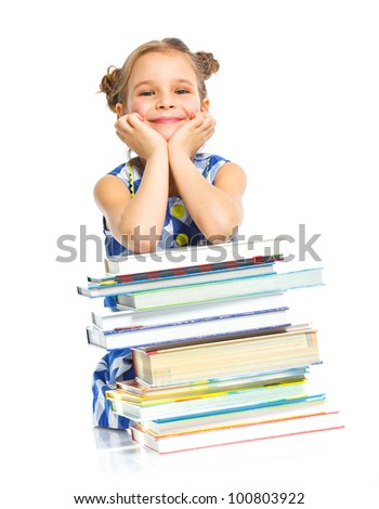 Education - funny girl with books. Isolated over white background. - stock photo