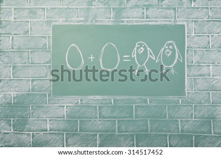Education funny idea about mathematics on sample of addition of eggs - stock photo