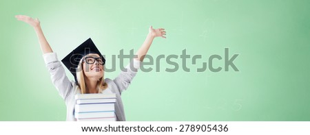 education, happiness, graduation and people concept - picture of happy student in mortar board cap with stack of books over green background - stock photo