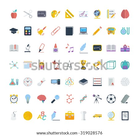 Education icon set. Flat related icon set for web and mobile applications. It can be used as - logo, pictogram, icon, infographic element. Illustration.  - stock photo