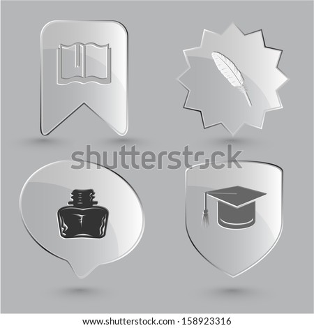 Education icon set. Graduation cap, book, inkstand, feather. Glass buttons. - stock photo