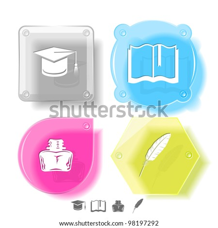 Education icon set. Graduation cap, book, inkstand, feather. Glass buttons. Raster illustration. - stock photo