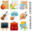 education icon set - raster version - stock photo