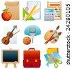 education icon set - raster version - stock photo