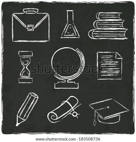 Education icons set on old black board -  illustration - stock photo