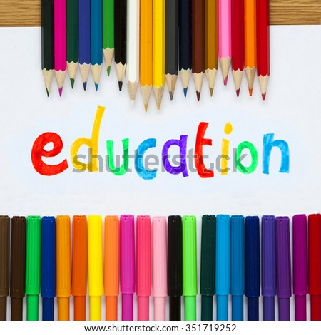 Education in felt tip with pencil crayons, educational design for teaching. - stock photo