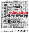 Education info-text graphics and arrangement concept on white background (word cloud) - stock