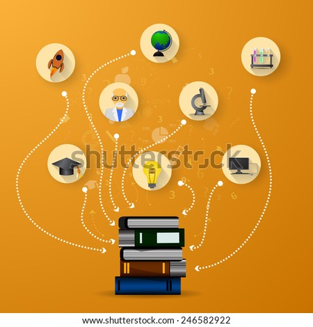 education infographic with book stack and icons on orange background - stock photo