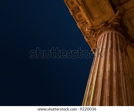 Education, law, court or city hall old Roman or Greek style architecture pillar columns and blue sky