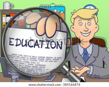 Education. Man Sitting in Office and Showing Concept on Paper through Magnifier. Multicolor Doodle Style Illustration. - stock photo