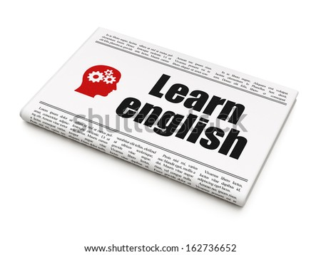 Education news concept: newspaper headline Learn English and Head With Gears icon on White background, 3d render - stock photo