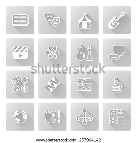 Education Quiz Subject Icons Covering Math Stock Illustration