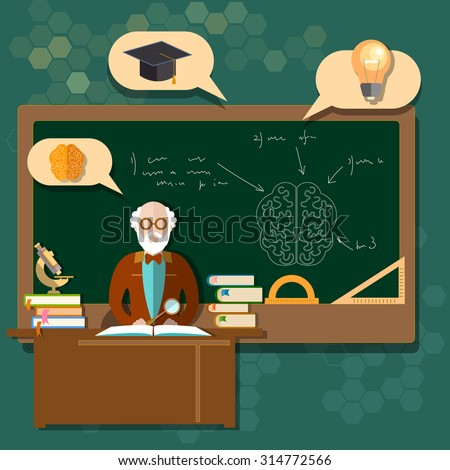 Education professor teacher students school boards classroom back to school college research mathematics geometry  - stock photo