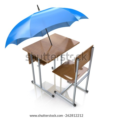 Education protection and teaching shelter for literacy and learning as a generic school desk with an umbrella as a symbol for protecting and providing security to students - stock photo