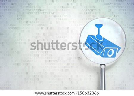 Education protection concept: magnifying optical glass with Cctv Camera icon on digital background, empty copyspace for card, text, advertising, 3d render - stock photo