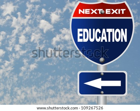 Education road sign - stock photo