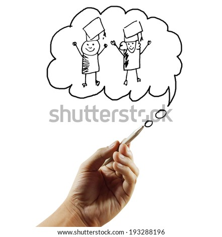 education, school and imaginary screen concep - stock photo
