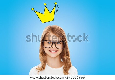 education, school, children and vision concept - smiling little girl with black eyeglasses over blue background with crown doodle - stock photo