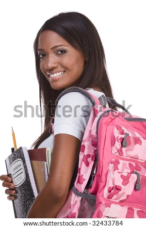 education series - Friendly ethnic black female with high school student with backpack and composition book - stock photo