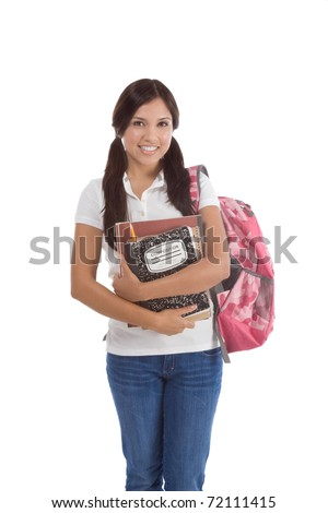 education series - Friendly ethnic Latina female high school student with backpack and composition book - stock photo