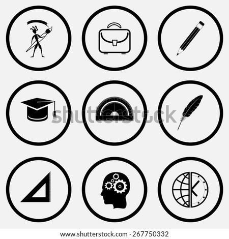 Education set. Black and white set raster icons. - stock photo