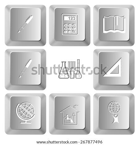 Education set. Raster set computer keys. - stock photo