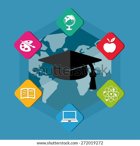education signs with black graduate cap with tassel - white symbols in colorful flat design blocks over world map, internet learning concept icons - stock photo