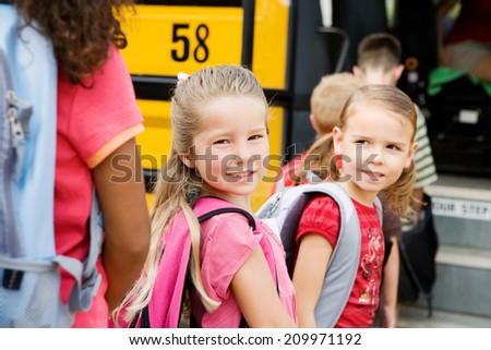 Education: Smiling Student Friends Ready For School - stock photo
