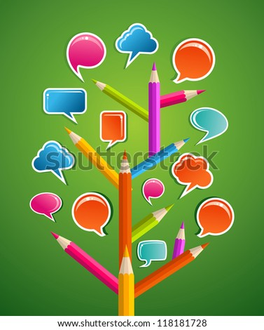 Education Social network tree with pencils as branchs and speech bubbles leaves.