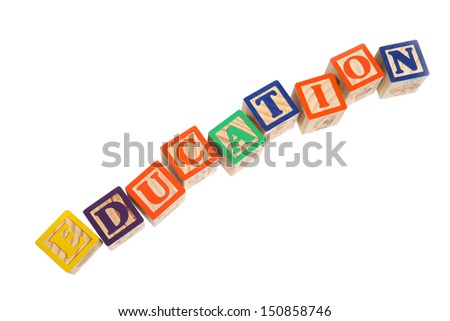 EDUCATION spelled with alphabet blocks on white background