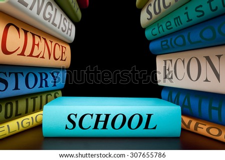 education study school books with text learning building knowledge  - stock photo