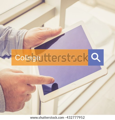 EDUCATION TECHNOLOGY SEARCHING TABLET PC COMMUNICATION SEARCH COLLEGE CONCEPT - stock photo
