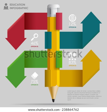Education Template with pencil and ribbon arrows  in different color as banners, web icons and place for your content. Concept illustration - stock photo