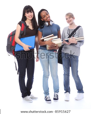 Education time for three multi ethnic teenage student girl friends made up of mixed race african american, oriental Japanese and caucasian with school books. - stock photo