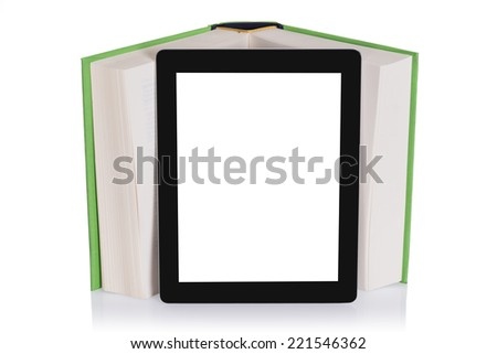 Education with tablet. Isolated on white background - stock photo