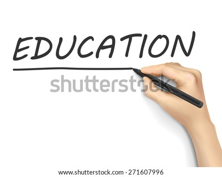 education word written by 3d hand over white background - stock photo