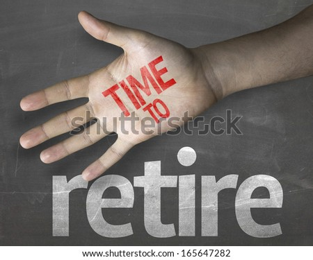 Educational and Creative composition with the message Time to Retire on the blackboard - stock photo
