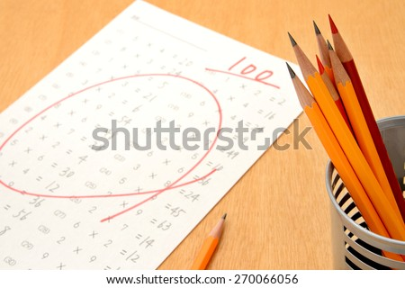 Educational concept, pencils and full score test - stock photo