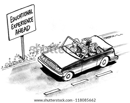 Educational experience ahead for the kids in car - stock photo