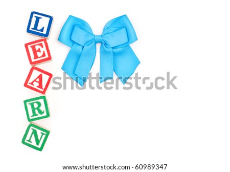 Educational Fundraiser Concept with Toy Blocks and Ribbon ( Space for Text )