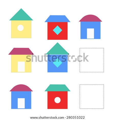 Educational game for children draw the house in blank square raster version - stock photo